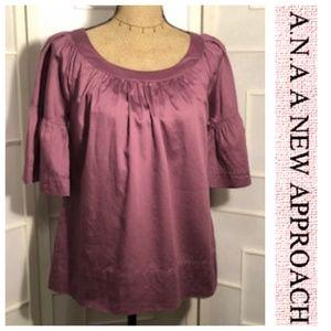 A.N.A. Mauve Bell Sleeve Shirt